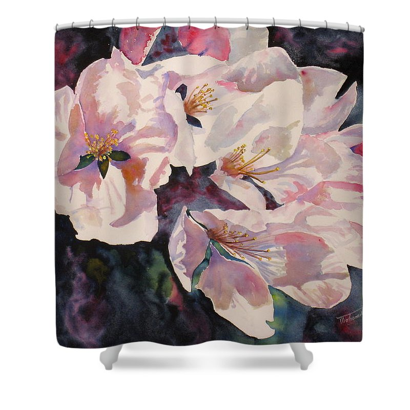Flowers Shower Curtain featuring the painting Apple Blossoms by Mohamed Hirji