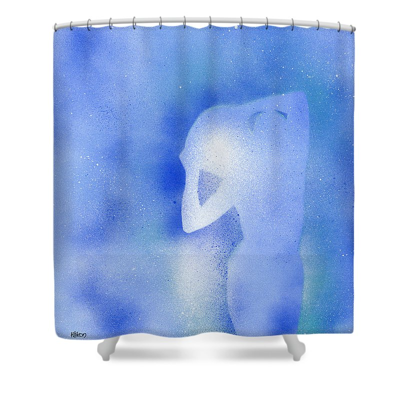 Aquarius Shower Curtain featuring the painting Aquarius 2 by Hakon Soreide