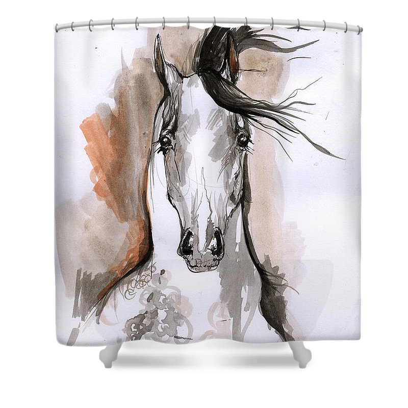 Horse Shower Curtain featuring the drawing Arabian Horse Ink Drawing 2 by Angel Ciesniarska