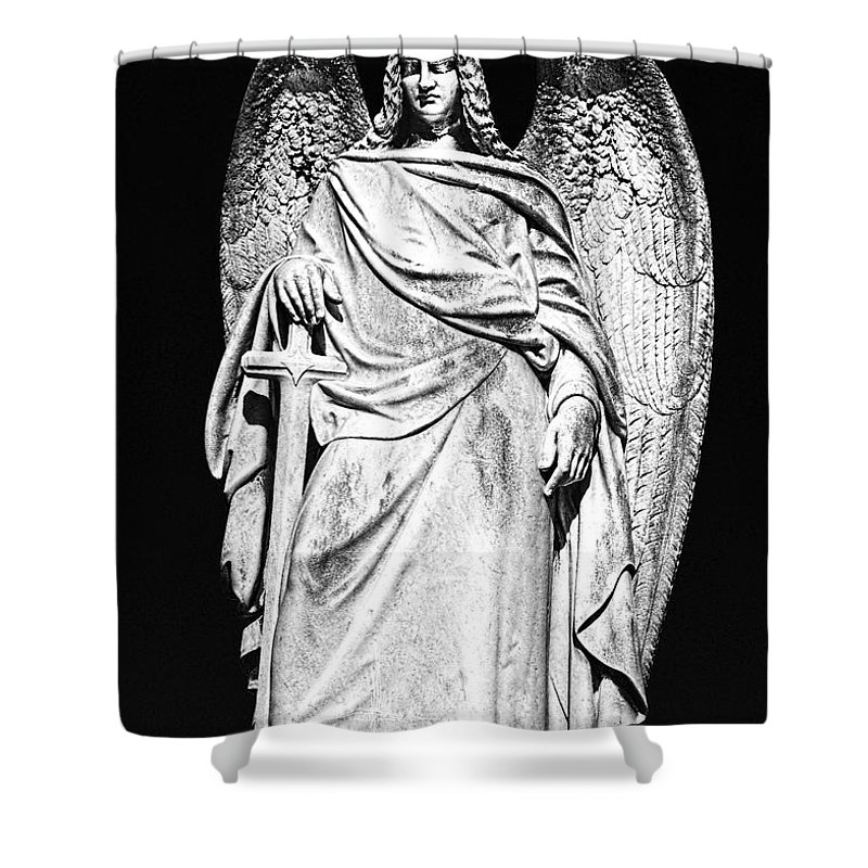 Angel Shower Curtain featuring the photograph Archangel By Night by Georgiana Romanovna