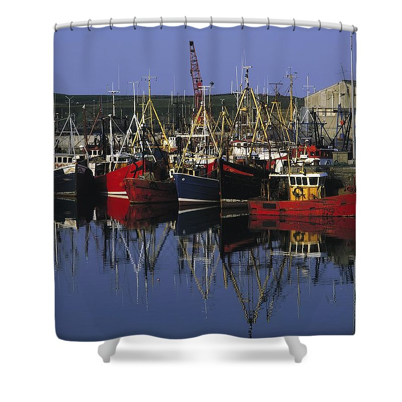 Ardglass Shower Curtain featuring the photograph Ardglass, Co Down, Ireland Fishing by The Irish Image Collection