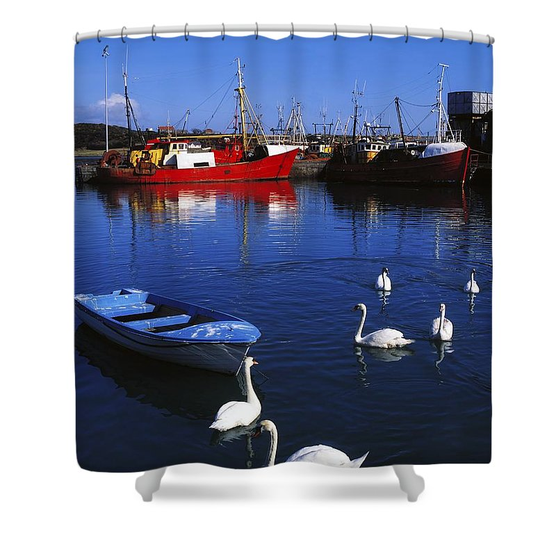 Ardglass Shower Curtain featuring the photograph Ardglass, Co Down, Ireland Swans Near by The Irish Image Collection