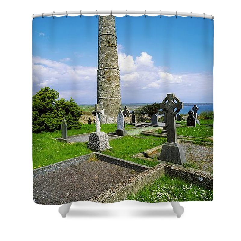 Ardmore Shower Curtain featuring the photograph Ardmore Round Tower, Ardmore, Co by The Irish Image Collection