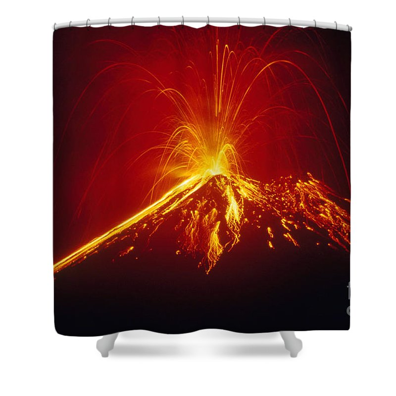 Horizontal Shower Curtain featuring the photograph Arenal Volcano Erupting by Gregory G. Dimijian