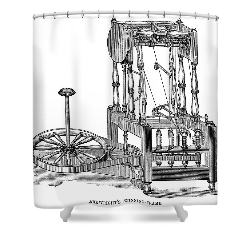 Arkwright: Spinning Frame Shower Curtain for Sale by Granger