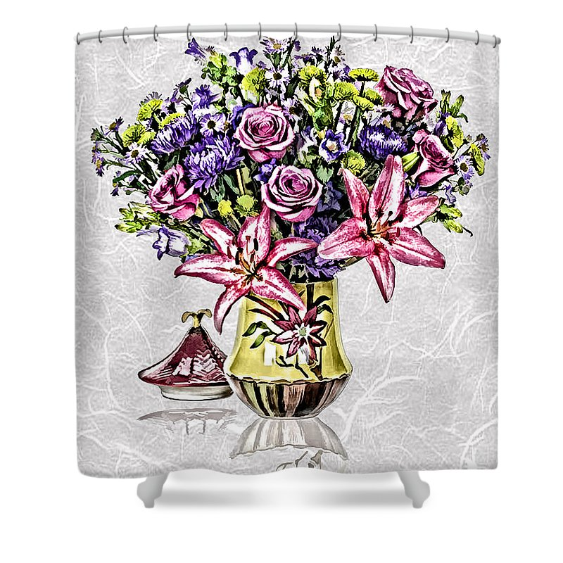 Floral Shower Curtain featuring the painting Arrangement In Pink And Purple On Rice Paper by Elaine Plesser