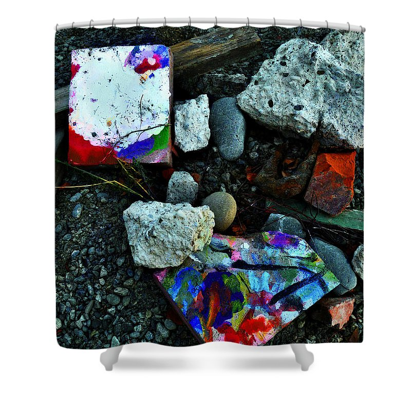 Art Shower Curtain featuring the photograph Art Amongst The Rubble by Steve Taylor