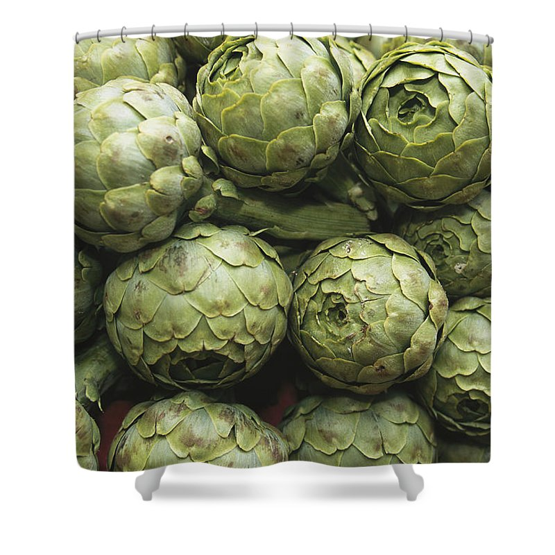 Plants Shower Curtain featuring the photograph Artichokes At An Open Air Market by Nicole Duplaix