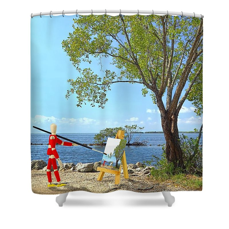 Background Shower Curtain featuring the photograph Artist's Art by Rudy Umans