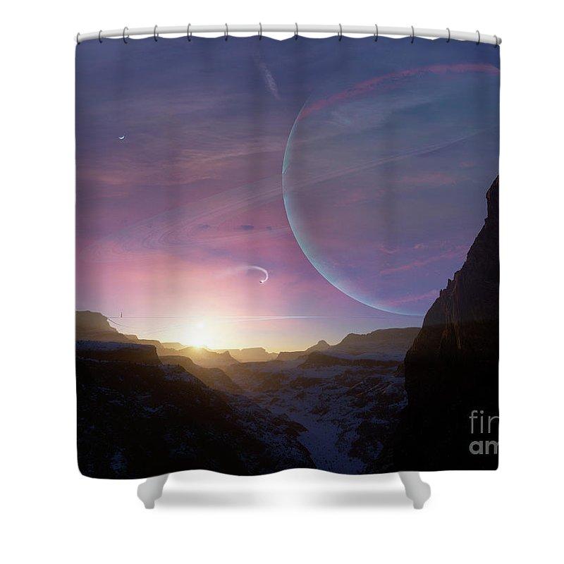 Artwork Shower Curtain featuring the digital art Artists Concept Of A Scene by Brian Christensen