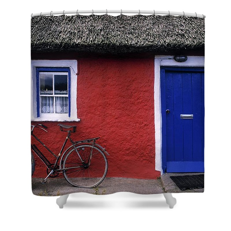 County Limerick Shower Curtain featuring the photograph Askeaton, Co Limerick, Ireland, Bicycle by The Irish Image Collection
