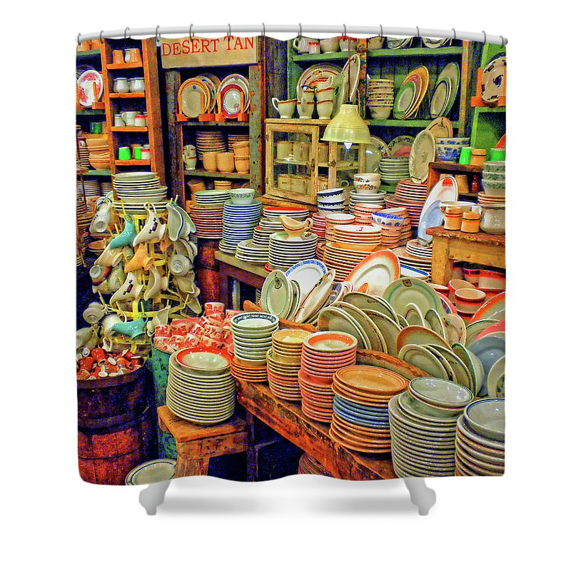 Fishs Eddy Shower Curtain featuring the photograph Assorted China Fishs Eddy New York City by Dave Mills