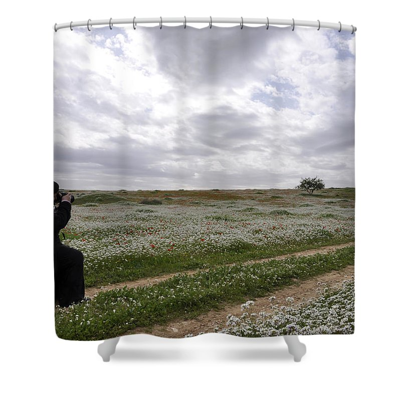 At Lachish Anemone Fields Shower Curtain featuring the photograph At Lachish Anemone Fields by Dubi Roman