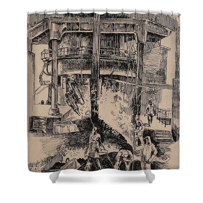 Metallurgical Furnace Shower Curtain featuring the drawing At The Blast Furnace by Ylli Haruni