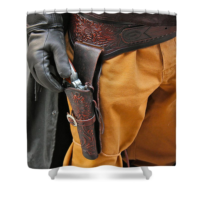 Gunfighter Photo Shower Curtain featuring the photograph At The Ready by Bill Owen