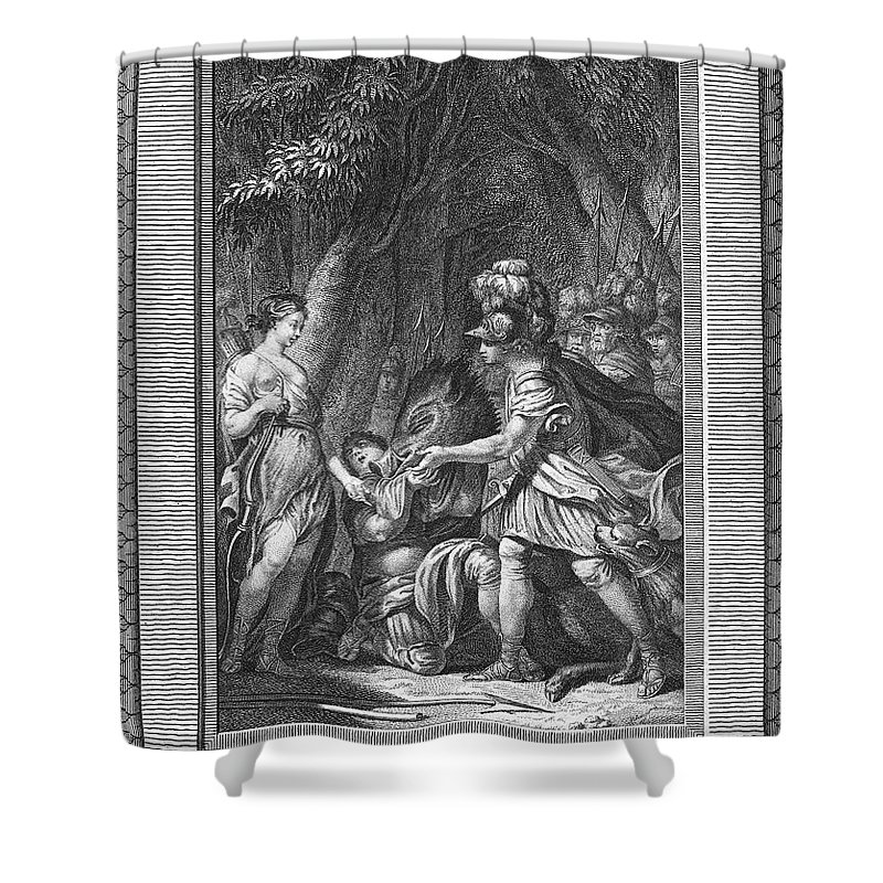 Ancient Shower Curtain featuring the photograph Atalanta And Meleager by Granger