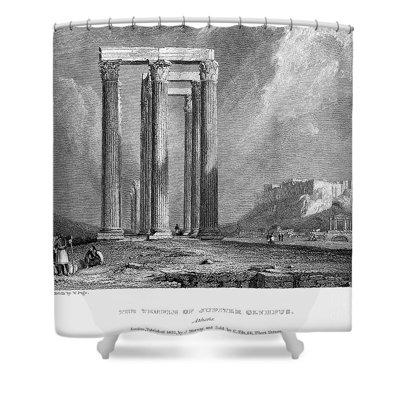 1832 Shower Curtain featuring the photograph Athens: Olympian Zeus by Granger