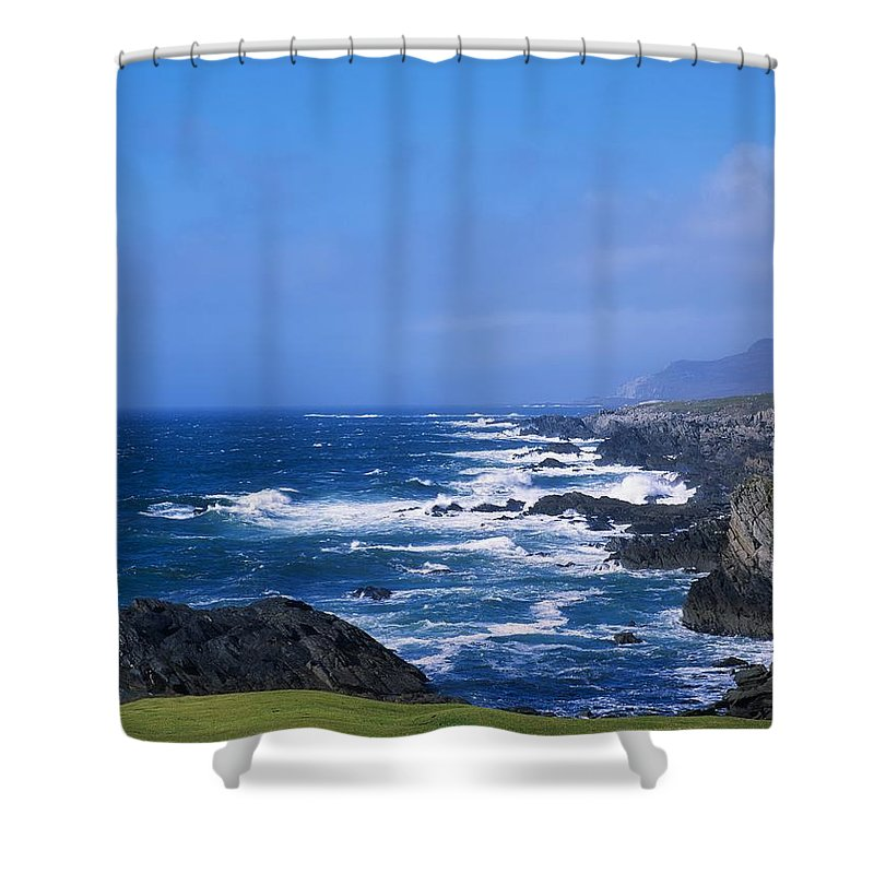 Atlantic Coast Shower Curtain featuring the photograph Atlantic Ocean, Achill Island, Looking by The Irish Image Collection