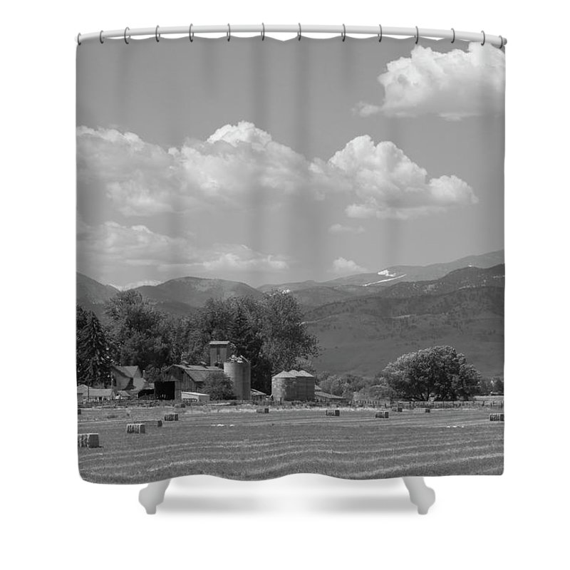 August Shower Curtain featuring the photograph August Hay 75th St Boulder County Colorado Black And White by James BO Insogna