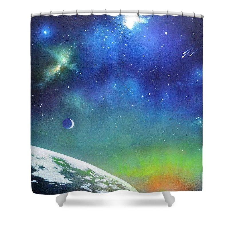 Auroa Borealis Shower Curtain featuring the painting Auroa Borealis From Space by Thomas Kolendra