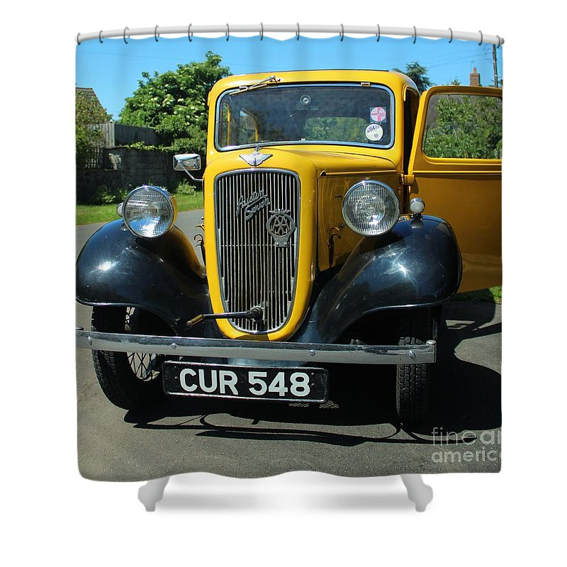 Auto Shower Curtain featuring the photograph Austin Healey Seven 1937 by Rene Triay Photography