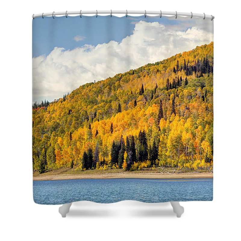 Autumn Shower Curtain featuring the photograph Autumn At Huntington Reservoir - Wasatch Plateau - Utah by Gary Whitton