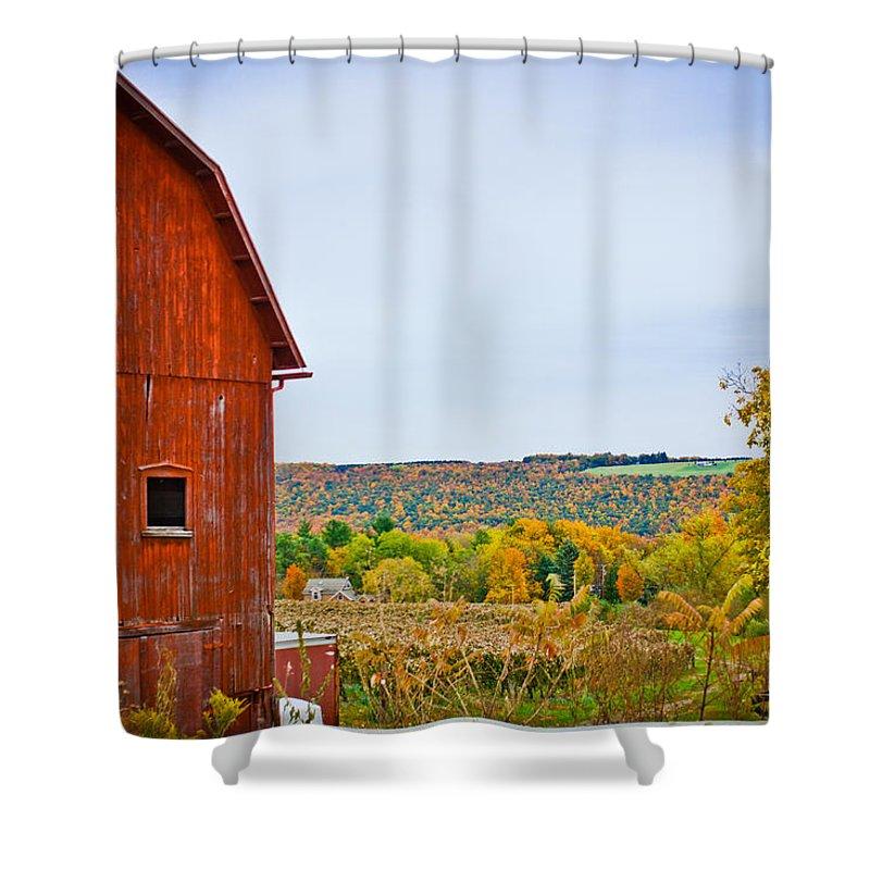 Autumn Shower Curtain featuring the photograph Autumn At The Farm by Sara Frank