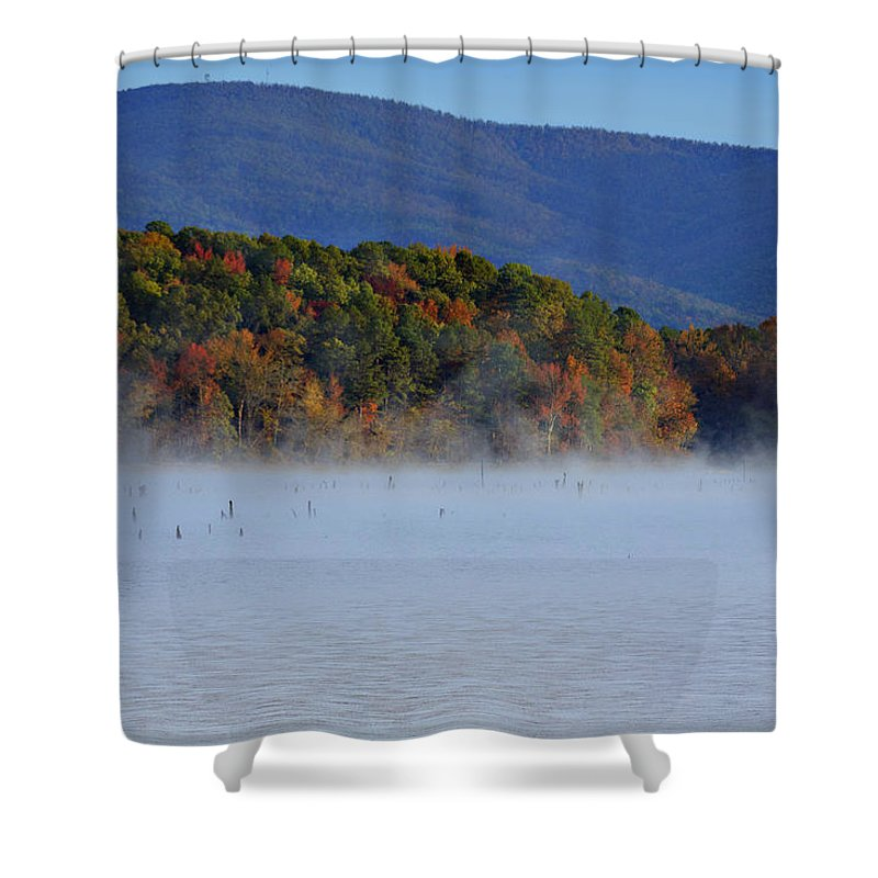 Autumn Shower Curtain featuring the photograph Autumn Backdrop by Douglas Barnard