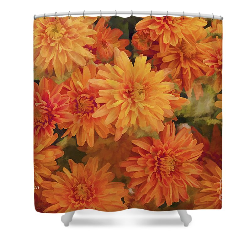 Chrysanthemums Gold Shower Curtain featuring the photograph Autumn Garden Impressions by Regina Geoghan