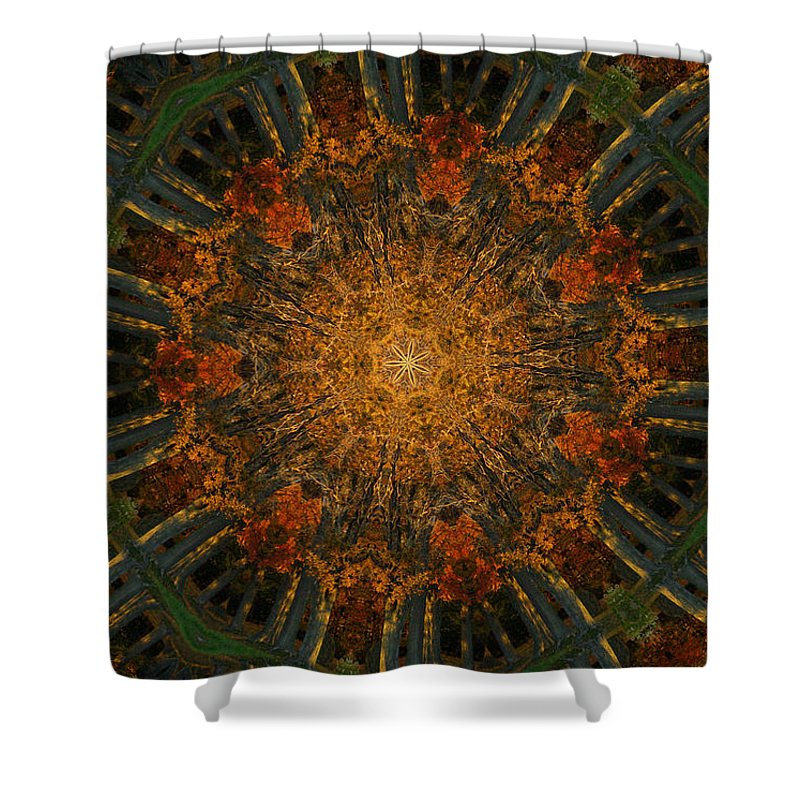 Mandala Shower Curtain featuring the digital art Autumn Mandala 6 by Rhonda Barrett