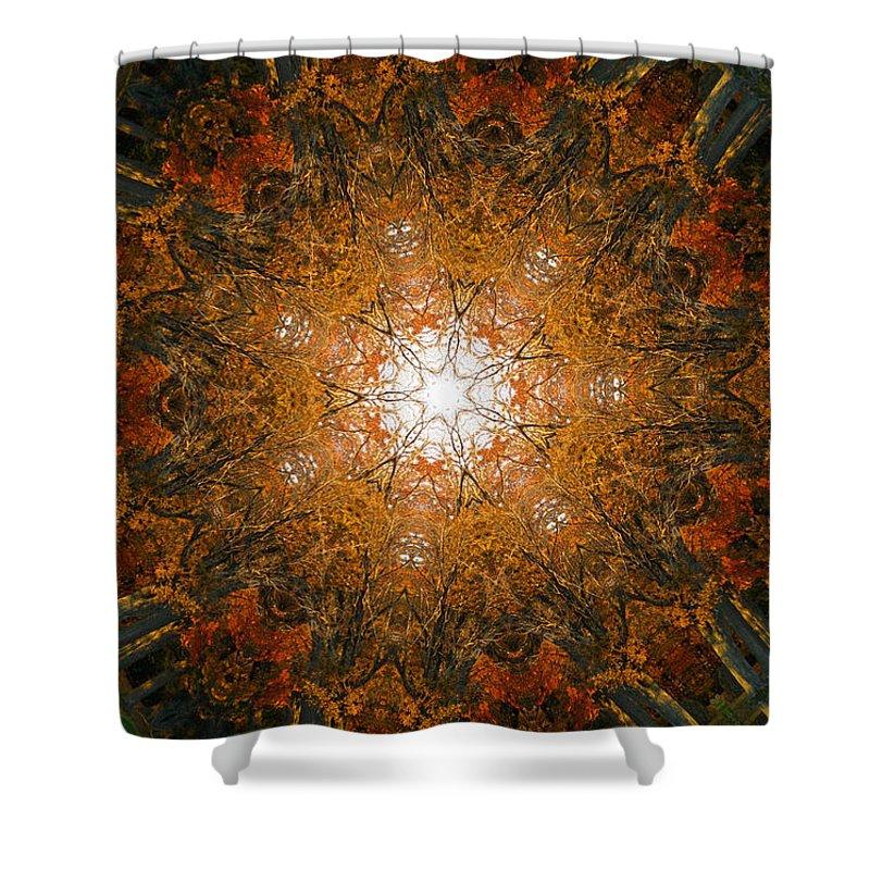 Mandala Shower Curtain featuring the digital art Autumn Mandala 8 by Rhonda Barrett