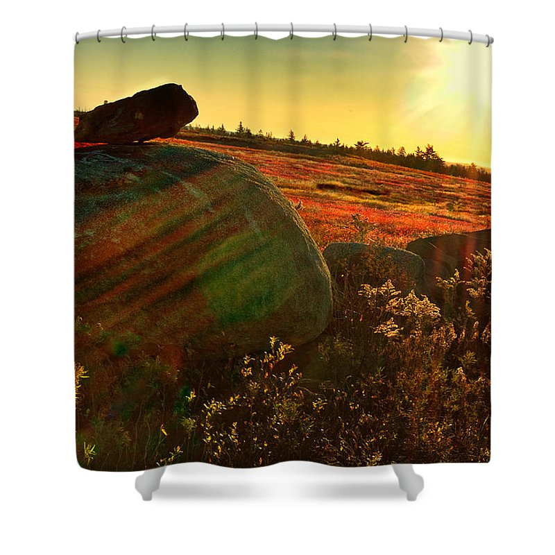 Autumn Landscape Shower Curtain featuring the photograph Autumn Morn In The Berry Field by Susan Capuano