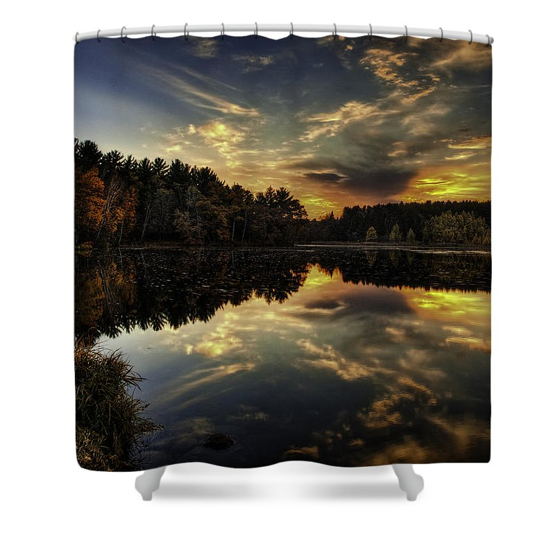 Autumn Shower Curtain featuring the photograph Autumn Sunset 2 by Thomas Young