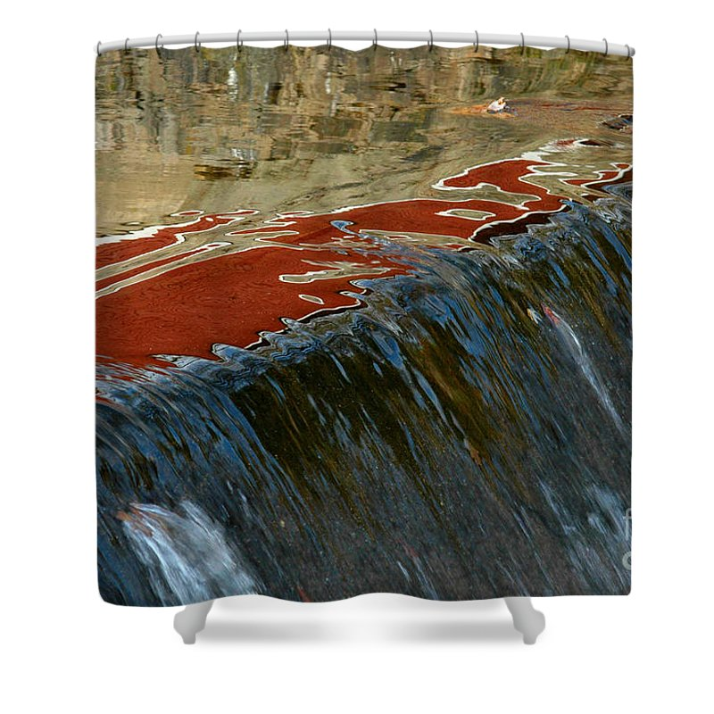 Autumn Shower Curtain featuring the photograph Autumn Waterfall Reflections by Mike Nellums