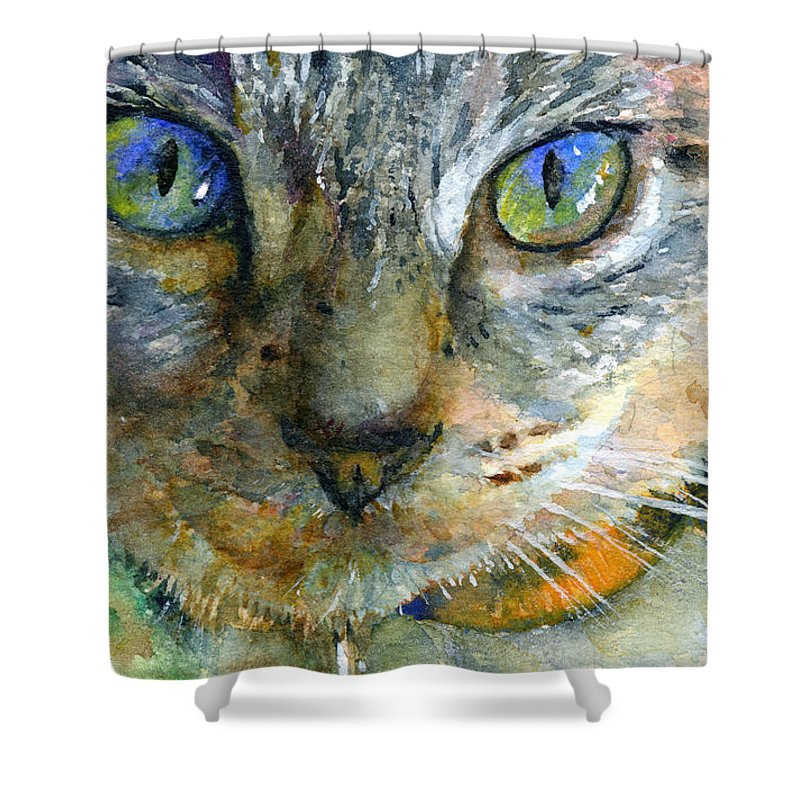 Cat Shower Curtain featuring the painting Avalon 2 by John D Benson