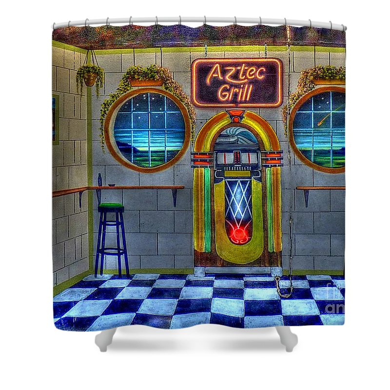 Aztec Grill Shower Curtain featuring the photograph Aztec Grill Route 66 by Tommy Anderson