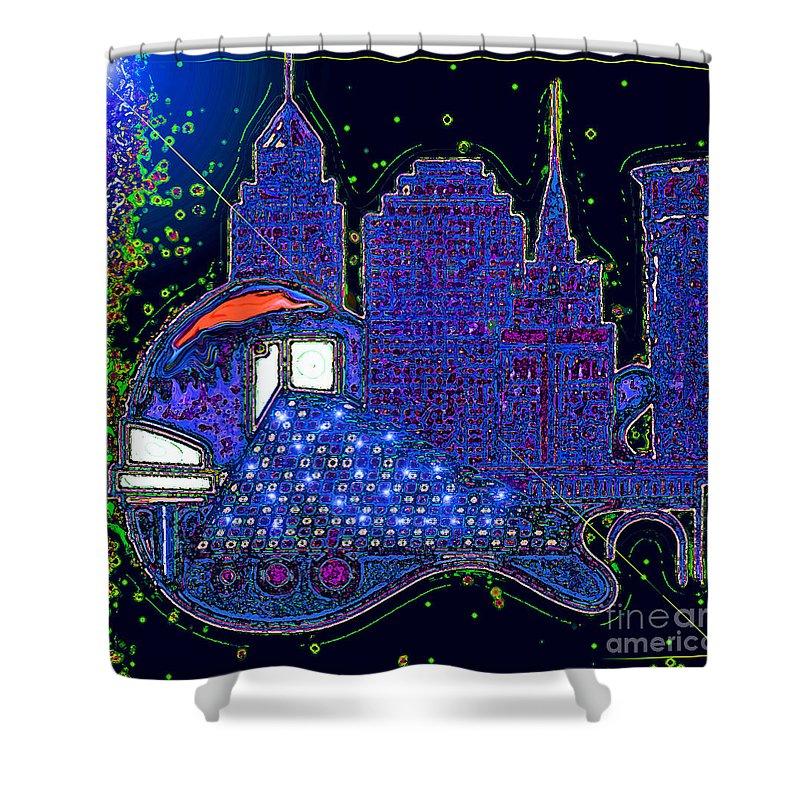 Sculptor Paint Artpopular Artfamosa Guitar Gitarra Musica Cardio Artista Rhythm Ritmo Bit Inspiracion Image Vida Josevasquez Shower Curtain featuring the digital art Azul by Jose Vasquez