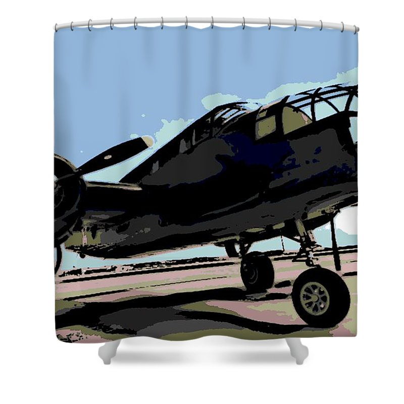 B-25 Bomber Shower Curtain featuring the photograph B-25 Bomber by George Pedro