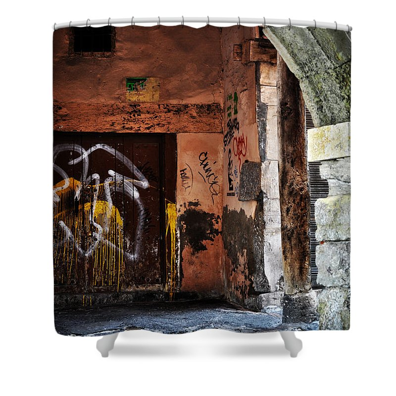 Back Alley Shower Curtain featuring the photograph Back Alley In Leon by Mary Machare