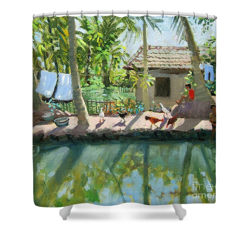 River Shower Curtain featuring the painting Backwaters India by Andrew Macara