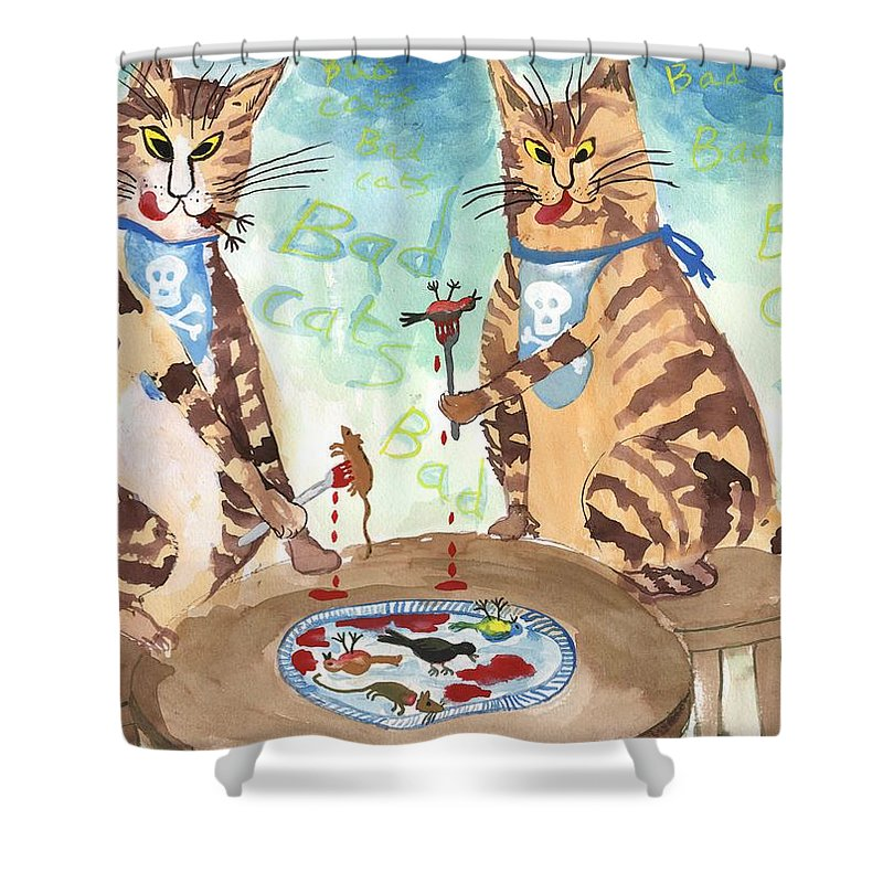 Cats Shower Curtain Featuring The Painting Bad Cats By Sushila Burgess