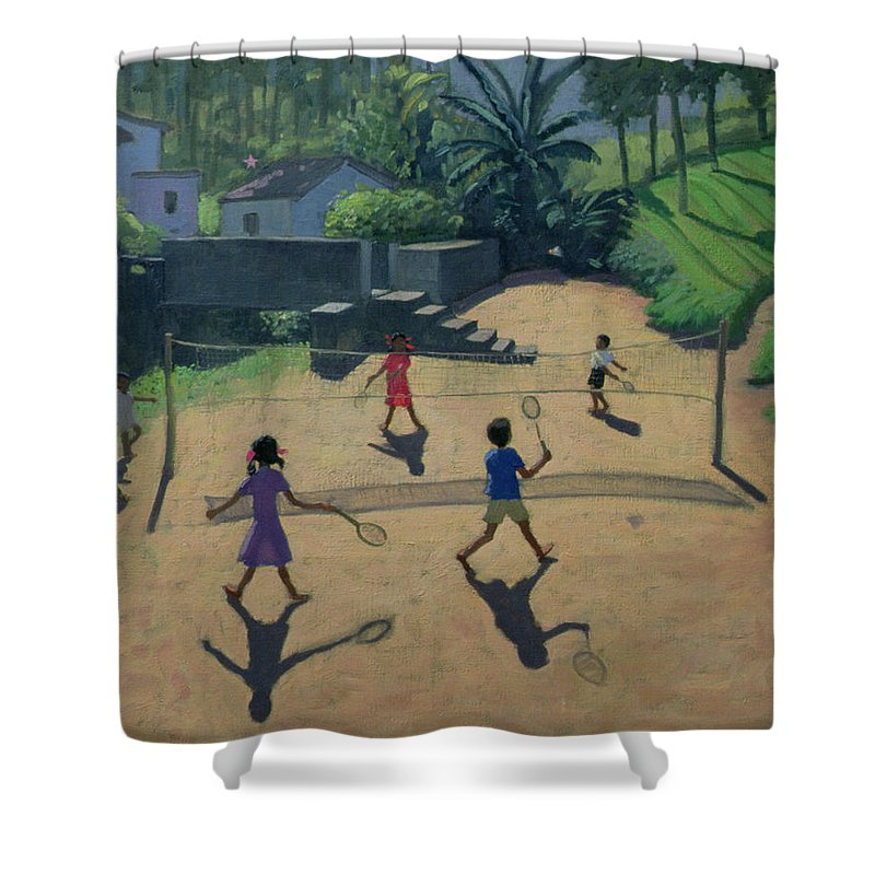 Playing Shower Curtain featuring the painting Badminton by Andrew Macara