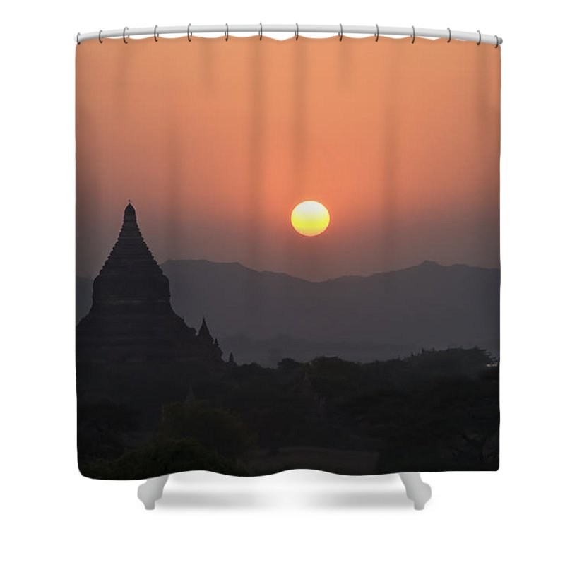 Ancient Shower Curtain featuring the photograph Bagan Temples At Sunset II by Gloria & Richard Maschmeyer