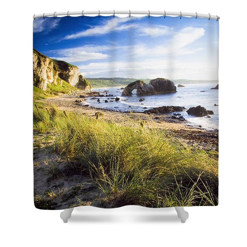 Day Shower Curtain featuring the photograph Ballintoy, County Antrim, Ireland Beach by The Irish Image Collection