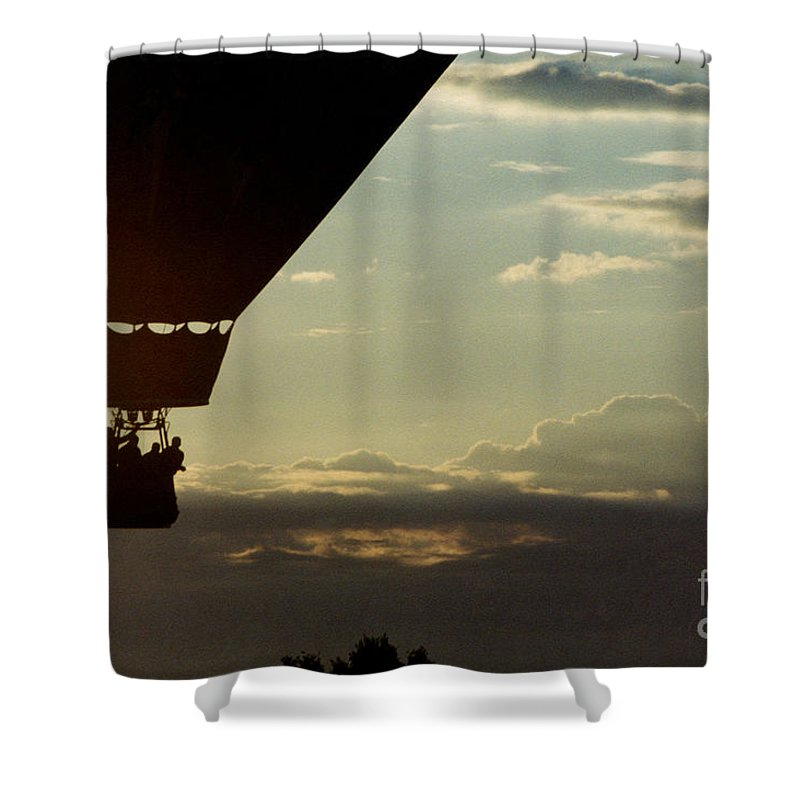 Sky Shower Curtain featuring the photograph Balloon Adventure by Tom Luca