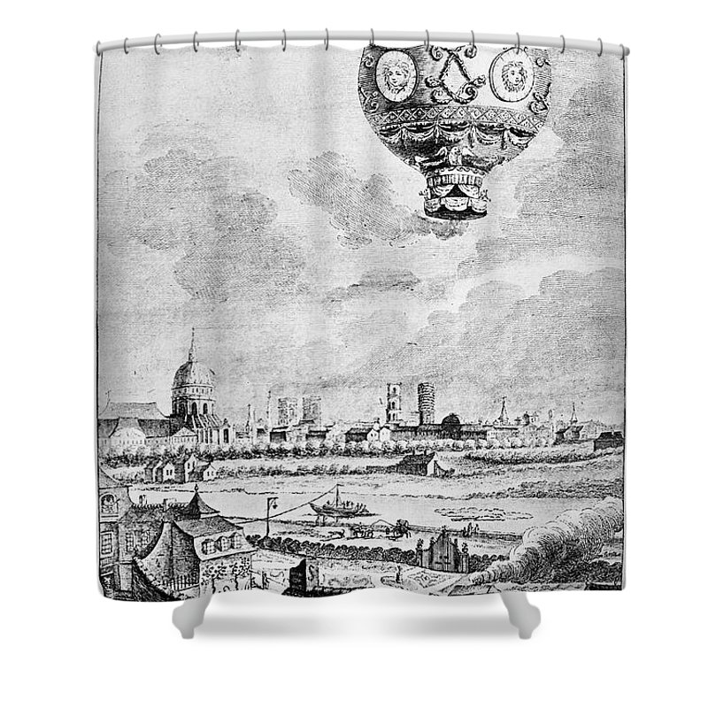 1783 Shower Curtain featuring the photograph Balloon Flight, 1783 by Granger