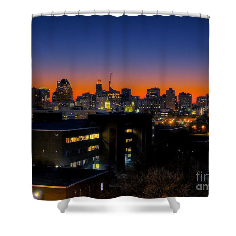 Hdr Photograph Shower Curtain featuring the photograph Baltimore At Sunset by Mark Dodd