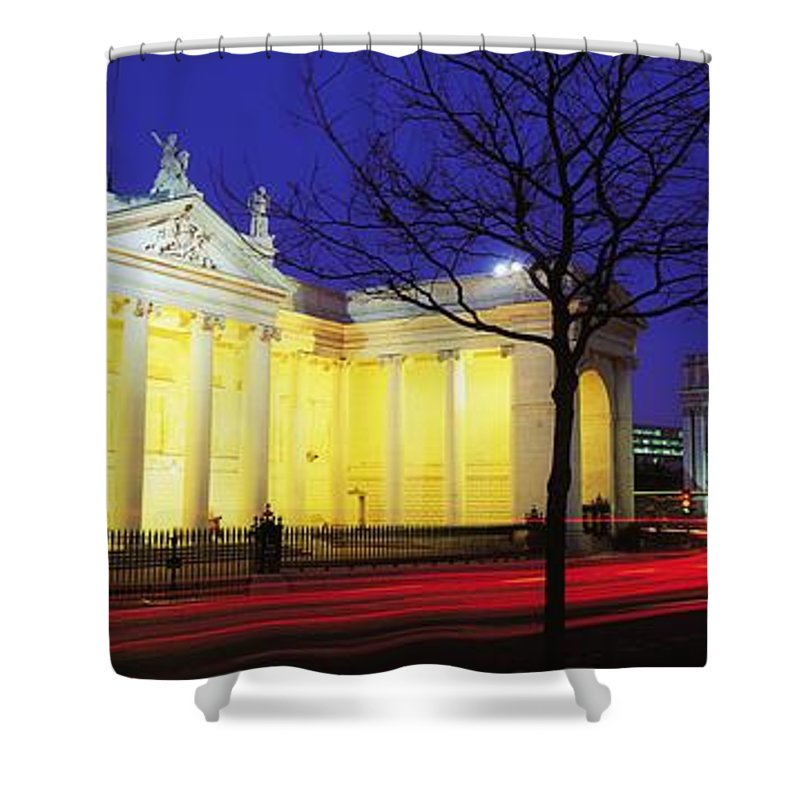 Bank Of Ireland Shower Curtain featuring the photograph Bank Of Ireland, College Green, Dublin by The Irish Image Collection