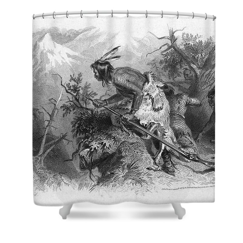19th Century Shower Curtain featuring the photograph Banknote: Native American Attack by Granger