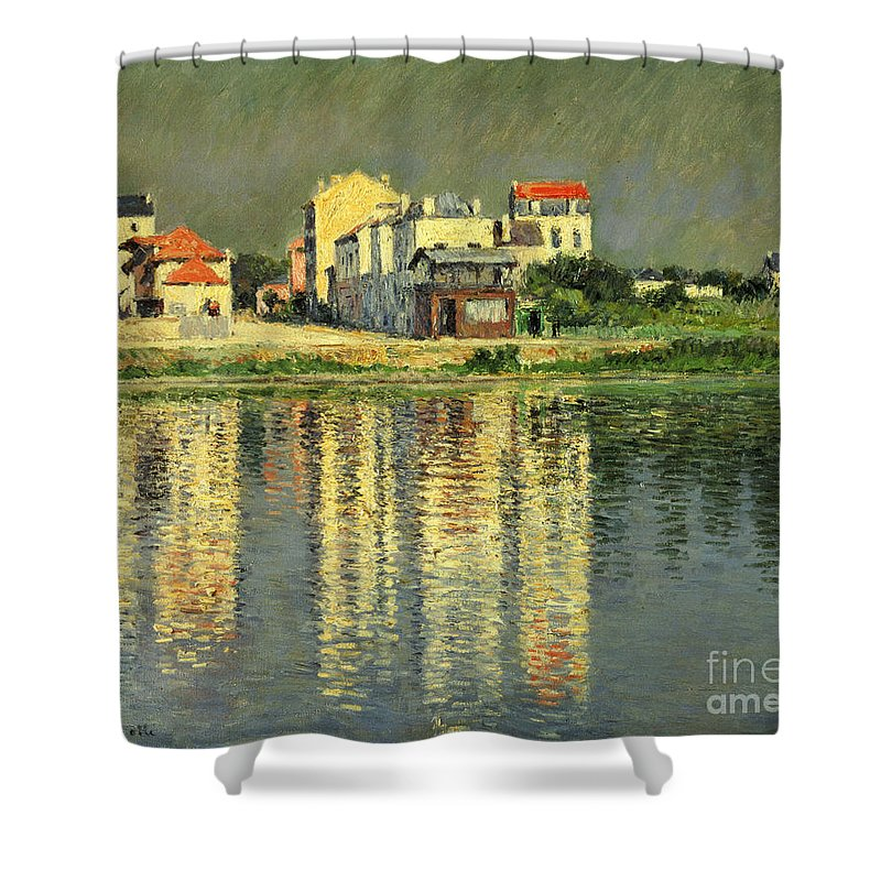 Bord De La Seine A Argenteuil Shower Curtain featuring the painting Banks Of The Seine At Argenteuil by Gustave Caillebotte